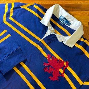 Polo by Ralph Lauren mens XL blue stripe rugby EUC